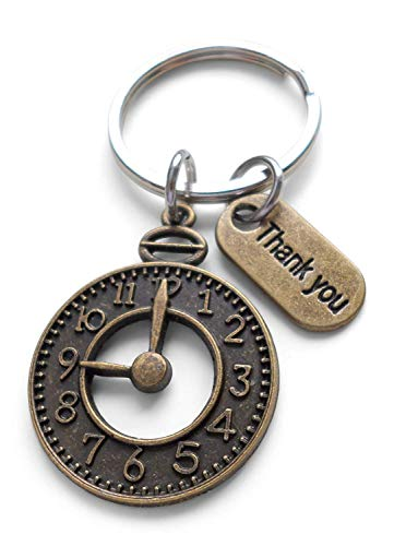 Bronze Clock Keychain with Thank you Tag, Volunteer Appreciation Gift - Thanks For Giving Us Your Time (Set of 25)