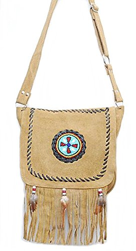 Handbag Suede Style Satchel Beads And Western Body Bag With Bag Cross Tassels wZSTRqnE