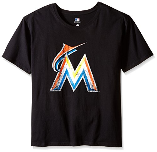MLB Miami Marlins Women's Short Sleeves Scoop Neck Prime, 1X, Black – DiZiSports Store