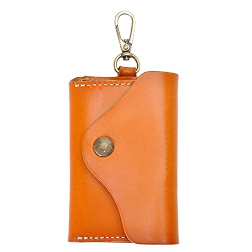 Unisex Handmade Leather Key Wallet Holder Card Case Key chain (Yellow) from ZLYC