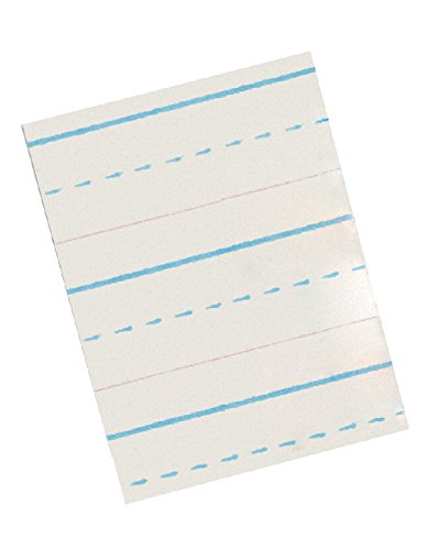 School Smart Red and Blue Ruled Newsprint for Grade 3 - 10 1/2 x 8 inches - Ream of 500 - White