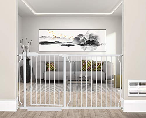 ALLAIBB Extra Wide Pressure Mounted Baby Gate Walk Through Child Kids Safety Toddler Tension White Long Large Pet Dog Gates with Extension for doorways Kitchen and Living Room 57.48-81.10 inch