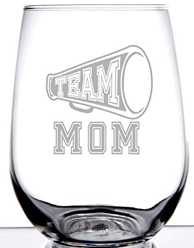 TEAM MOM WINE GLASS STEMLESS | Fun gift for TEAM MOMS | Cute graphic laser engraved etched | Great for Baseball, Soccer, Football, Basketball, Tennis or any other sports Mothers