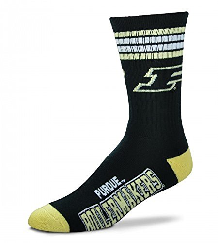 For Bare Feet NCAA 4 Stripe Deuce Crew Men Socks-Purdue Boilermakers-Large(10-13)