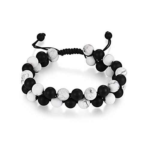 Howlite Stone Bracelet (Haskare Men Healing Bracelet Onyx Howlite Bead 8mm Natural Stone Chakra Healing Buddha Bracelet Braided)