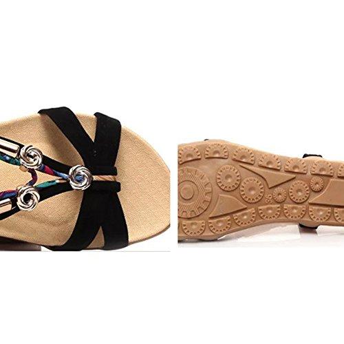 Scothen flop clip los de Trenzado correa del de Zapatos T las las del mujeres de correa de mujeres sandalias romana Correa tobillo Gladiador flip sandalias las zapatillas punta playa planos Negro de UUqwarp