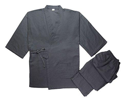 Soojun Men's Kimono Jinbei Shirt and Pant Japanese Loungewear, Style 2 Darkgrey, Small by Soojun