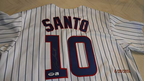 RON SANTO Signed Cubs Pinstripe Baseball Jersey -PSA Authenticated #T83365