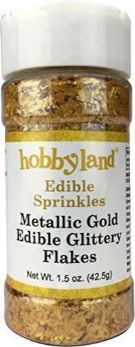 Hobbyland Edible Sprinkles (Metallic Gold Glitter Flakes, 1.5 oz)