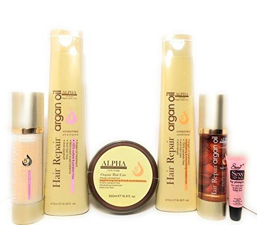 Alpha New York Organic Hair Repair Argan Oil Hydrating Shampoo 16.06 Oz, Hydrating Conditioner 16.06 Oz, Mask 16.9 Oz, Shine Spray 3.38oz & Hair Serum 3.38oz -Free Starry Lip Plumping Gloss 10ml