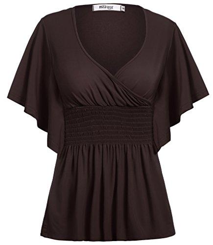 Meaneor Women V-neck Slimming Short Sleeve Smocked Empire Waist Tank Batwing Top (4XL, Dark Brown) (Smocked Dresses Empire)