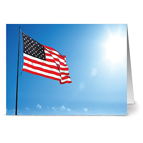 - Flag Waving in the Sky - 36 Note Cards - Blank Cards - Red Envelopes Included