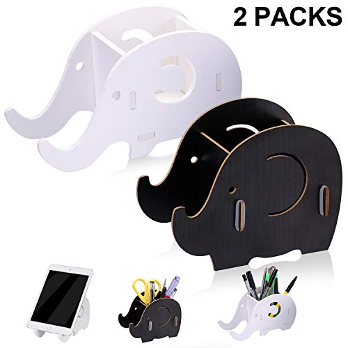 White Stationery 2 Boxes - Rngeo Elephant Pencil Holder with Phone Stand, Desk Organizer Desktop Pen Pencil Mobile Phone Bracket Stand Storage Pot Holder Container Stationery Box Organizer (Pack of 2, White, Black)