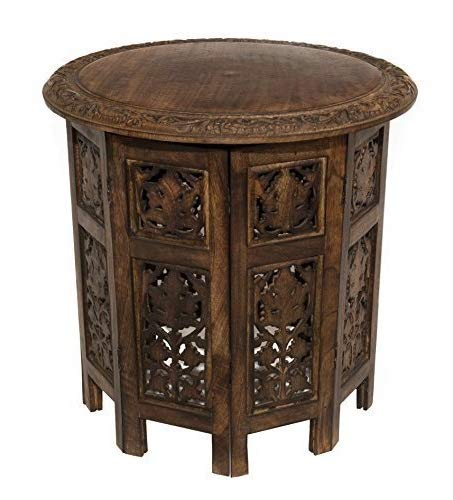 DK Furniture Solid Wood Hand Carved Accent Coffee Table - 18 Inch Round Top x 18 Inch High - Antique ()