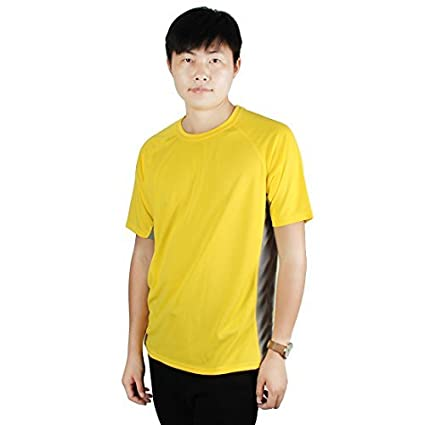 eDealMax Hombres Ejercicio Publicidad, poliéster, secado rápido y transpirable de Manga Corta Deportes Camiseta