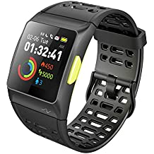 iWOWNfit Smart Watch, P1 Fitness Watch: Activity Tracker with Heart Rate Monitor, HRV Analysis, Pedometer, Sleep, Steps Tracker with Multi-Sports Modes, IP68 Waterproof Bluetooth GPS Running Watch