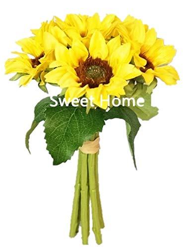 Sweet Home Deco Silk Sunflower Artificial Flower Bouquet/Flower Boutonniere Wedding Flowers (Yellow 6-Stem Bouquet)