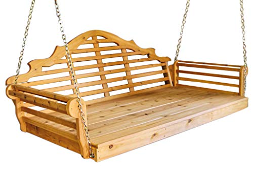 (Aspen Tree Interiors Best Porch Swing Bed, Outdoor Swinging Daybed, Patio Day Bed Swings, Hanging 3 Person Bench, Unique Western Red Cedar Outside Furniture Decor, Stained (75