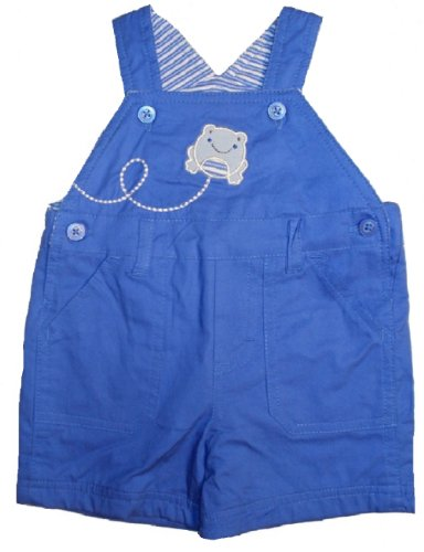y-boys' 1 Pc Fully Lined Cotton Shortalls 0-3 Months Blue Frog ()