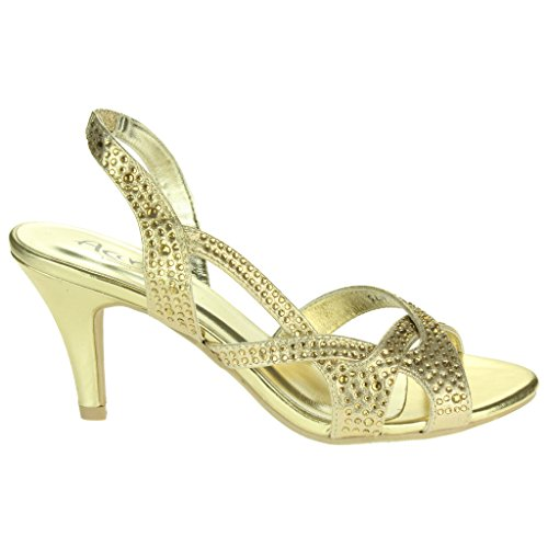 Mujer Señoras Diamante Detalle Correa superpuesta Slingback Tacón medio Noche Fiesta Boda Paseo Sandalias Zapatos Talla Oro