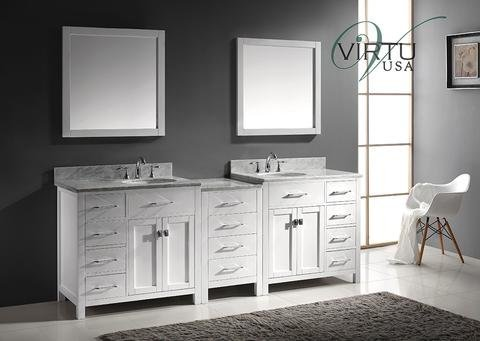 Virtu Usa Md 2193 Wmro Wh 93 Inch Caroline Parkway Double Round Sink Bathroom Vanity  White