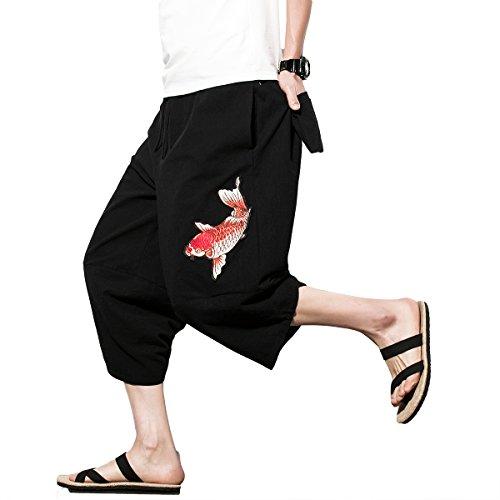 INVACHI Mens Casual Elastic Waist Linen Capri Wide Leg Baggy Harem Pants ()
