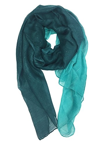YOUR SMILE Ladies/Women's Lightweight Color mixture Print Shawl Scarf For Spring Season (Teal/Blackish green)