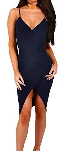 Womens Midi Neck Clubwear Domple Strap Spaghetti Dress Backless 1 Ruched Sexy V dwBAqA7
