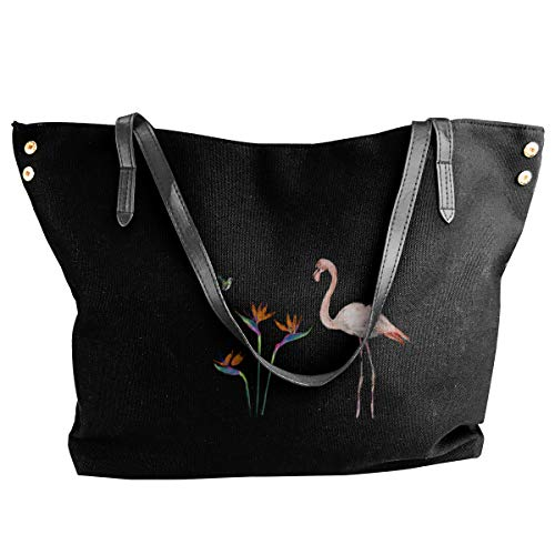 Interesting Flamingo And Bird Of Paradise Women's Tote Bags Canvas Shoulder Bag