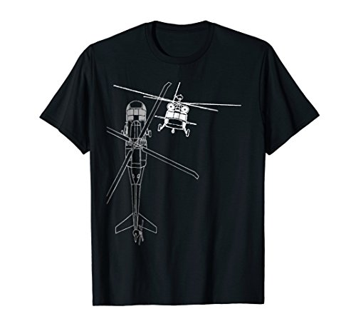 UH-60 Blackhawk Helicopter Line Drawing Flying Pilot T-shirt