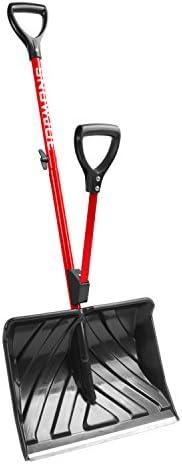 Snow Joe SHOVELUTION SJ-SHLV01-RED 18-IN Strain-Reducing Snow Shovel w/ Spring Assisted Handle, Red