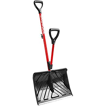 Snow Joe SJ-SHLV01-RED Shovelution Strain-Reducing Snow Shovel | 18-Inch | Spring Assisted Handle (Red)