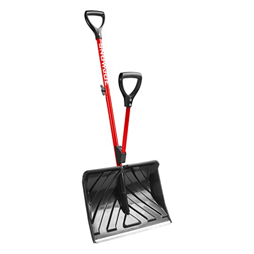 Snow Joe SHOVELUTION SJ-SHLV01-RED 18-IN Strain-Reducing Snow Shovel w/Spring Assisted Handle, Red