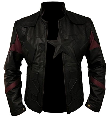 Men's Star Lord Avengers Infinity War Leather Jackets and Coats Collection - New Arrival (Black - Captain America Infinity War Jacket, X-Large - Body Chest 44