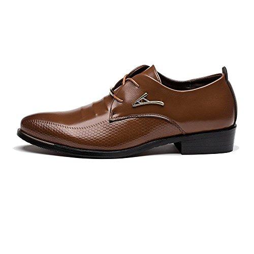 Boda de Negocios Zapatos con Comodidad Cuero Estilo de Oxfords Casual Minetom Hombres Marrón Cordones de Británico de Vestir Planos 1wByH