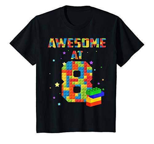 Kids Birthday Shirt For Kids 8 Building Blocks