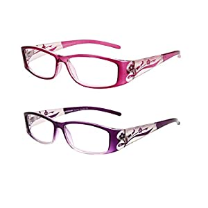 LianSan Designer Fashion Retro Plastic Women Reading Glasses with Bling Vintage Ladies Readers Eye Strain Magnifying Eyeglass with Crystals L3711 2 Pack (+1.00)