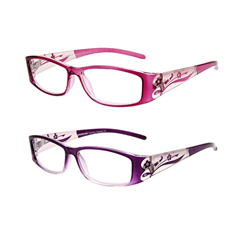 LianSan Designer Fashion Retro Plastic Women Reading Glasses with Bling Vintage Ladies Readers Eye Strain Magnifying Eyeglass with Crystals L3711 2 Pack - Prescription Varifocal Sunglasses