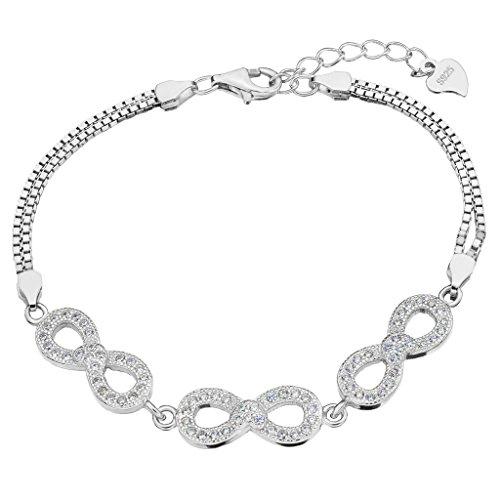 EVER FAITH 925 Sterling Silver Pave CZ Figure 8 Infinity Love Heart Bracelet Double Chain Clear (Victorian Bracelet Style Heart)