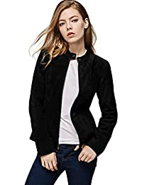 Women`s Genuine Leather Jacket Suede Moto Jackets