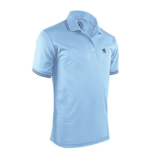 Albert Morris Polo Shirt for Men - Light Blue Striped, Large - Short Sleeve - Single Pack