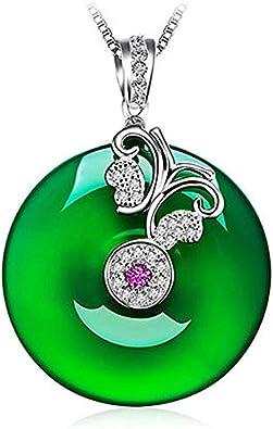 QKL Classic Peace Buckle Natural Green Chalcedony White Jade Jasper Colgante Collar Mujer, Elegante Disco Hetian Jade Colgante