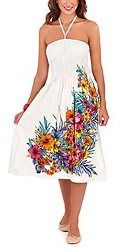 White Cotton Strapless Dress (Pistachio Women's Floral 3 In 1 Cotton Summer Dress Large (Us 12-14) White Flower)