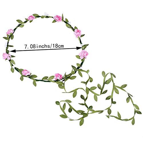Girl Wreath - NNJXD Girls Flower Girls Princess Floral Wreath (One Size, Floral Wreath-Pink)