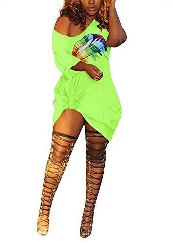LAJIOJIO Fashion Letter Print Off The Shoulder Short Sleeve Shirt Dress Above The Knee for Women (M, Green) ()