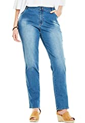 A touch of spandex creates an exceptional fit in these straight-leg jeans. The stretch moves with your body while a straight leg is fitted but never too tight. Classic five-pocket styling and a zip-fly with button closure provide classic deni...