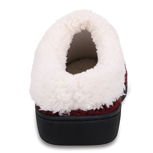 EPGU Fleece Women's Burgundy House Lined Rubber soled Winter Slippers rrBZwqvnHx