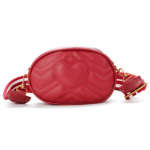 Herald Fashion Elegant Quilted Leather Fanny Pack Classy Wasit Bag with Two -
