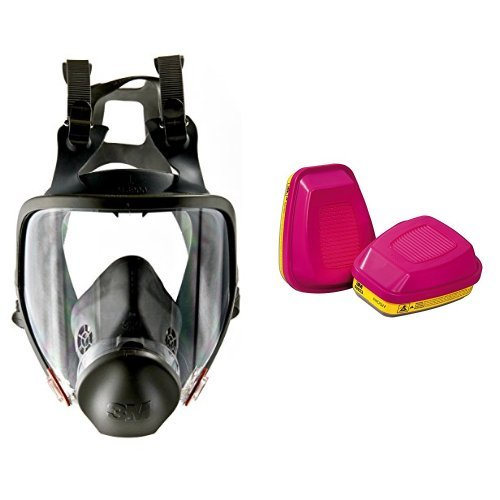 3M Full Facepiece Reusable Respirator 6900, Respiratory Protection, Large (Pack of 1) & 3M Organic Vapor/Acid Gas Cartridge/Filter 60923, P100 Respiratory Protection (Pack of 2)