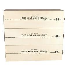 Boulevard Newlywed's Anniversary Wooden Wine Box by Twine